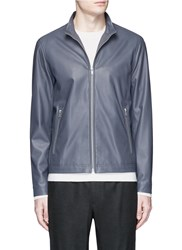 Theory 'Morvek L' Lambskin Leather Jacket Grey