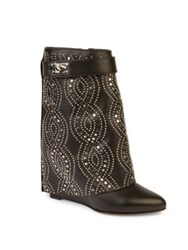 Givenchy Shark Lock Embellished Leather Fold Over Wedge Boots Black