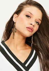 Missguided Gold Bad Babe Drop Earrings