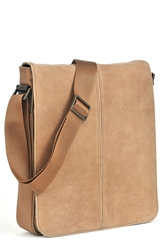 Boconi 'Leon Mailbag' Calfskin Leather Crossbody Bag Camel Green Plaid