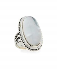 Stephen Dweck Crystal Quartz And Mother Of Pearl Oval Ring White