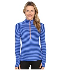 Mountain Hardwear Butterlicious Stripe Long Sleeve 1 2 Zip Bright Island Blue Women's Long Sleeve Pullover