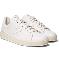 Tom Ford Warwick Perforated Full Grain Leather Sneakers White