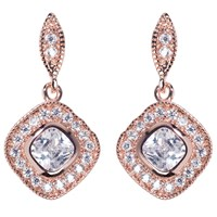 Ivory And Co. Square Cubic Zirconia Pave Drop Earrings Rose Gold