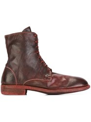 Guidi Lace Up Boots Red