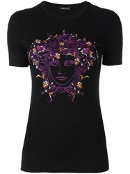Versace Embroidered Floral Medusa Head T Shirt Black