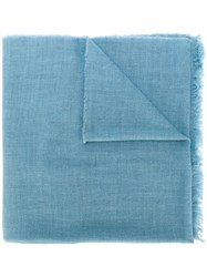 Le Tricot Perugia Long Scarf Virgin Wool Blue