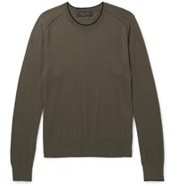 Rag And Bone Contrast Tipped Cotton Silk Cashmere Blend Sweater Green