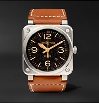 Bell And Ross Br 03 92 Golden Heritage 42Mm Steel Leather Watch Ref. No. Br0392 St G He Sca Black