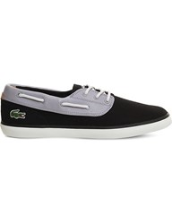 Lacoste Jouer Deck Suede And Canvas Boat Shoes Black Grey
