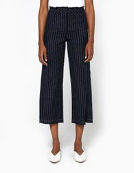 Alexander Wang Burlap Cropped Raw Edge Pant Navy White