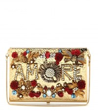 Dolce And Gabbana Virna Amore Embellished Box Clutch Gold