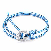 Anchor And Crew Blue Dash Lerwick Silver Rope Bracelet