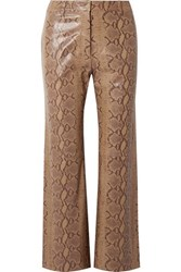 Nili Lotan Vianna Snake Effect Leather Flared Pants Tan