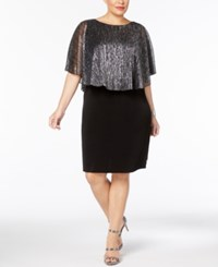 Connected Plus Size Metallic Cape Dress Black Silver