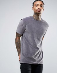 Asos Longline T Shirt In Heavy Velvet Charcoal Grey