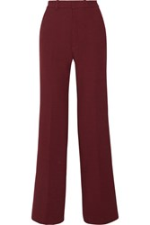 Joseph Fergus Satin Trimmed Stretch Twill Wide Leg Pants Claret