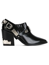 Toga Pulla Buckled Chunky Heel Booties Black