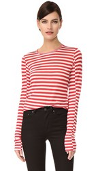 Rag And Bone Arrow Long Sleeve Tee Blanc Red