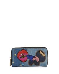 Marc Jacobs Denim Patches Continental Wallet Blue Multi