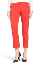 Halogenr Women's Halogen Crop Stretch Cotton Pants Red Bloom