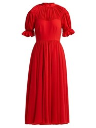 Emilia Wickstead Philly Gathered Crepe Midi Dress Red