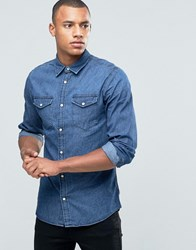 Jack And Jones Denim Shirt With Double Pockets Press Stud Buttons Dark Denim Black