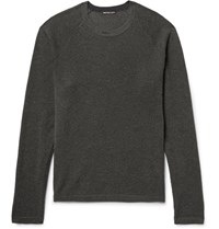James Perse Waffle Knit Cotton Cashmere And Wool Blend Sweater Green