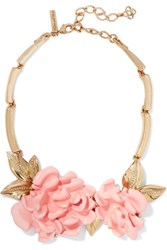 Oscar De La Renta Gold Plated Resin Necklace Blush