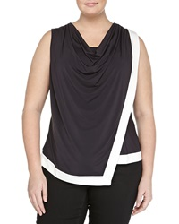 Mynt 1792 Asymmetric Cowl Neck Blouse Black