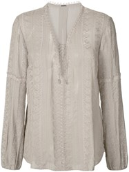 Elie Tahari Sheer Long Sleeve Blouse Women Silk S Grey