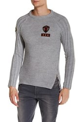 Ron Tomson Patchwork Zipper Sweater Gray