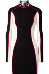 Opening Ceremony Optic Intarsia Trimmed Color Block Stretch Knit Mini Dress Black