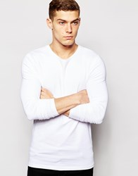 Asos Muscle Long Sleeve T Shirt With Crew Neck In White