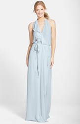Women's Nouvelle Amsale Long Chiffon Wrap Dress Cloud