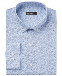 Bar Iii Men's Slim Fit Light Blue Floral Dress Shirt Only At Macy's