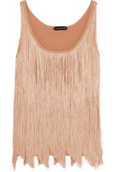 Tom Ford Fringed Stretch Knit Camisole Rose Gold