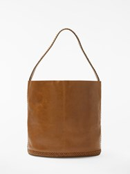 And Or Isabella Leather Whipstitch Bucket Bag Tan