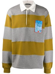 Acne Studios Striped Rugby Polo Shirt Grey