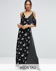 Asos Tall Wrap Front Maxi Dress With Cold Shoulder In Mixed Print Multi Black