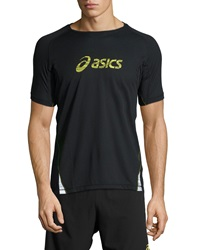 Asics Fuji Trail Graphic Tee Black Electric Lime