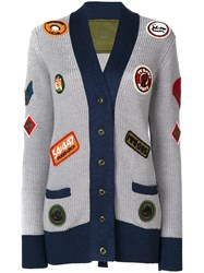 Mr And Mrs Italy Multi Patch Knitted Coat Women Silk Polyester Viscose Glass 42 Grey