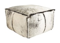 Surya Ranger Rectangle Pouf Black Medium Gray White