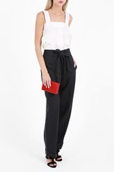 Helmut Lang Women S Pinstripe Paperbag Trousers Boutique1 Navy