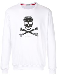 Loveless Skull And Crossbones Sweatshirt White