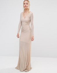 City Goddess Backless Long Sleeved Maxi Dress In Lurex Fabric Nude Beige
