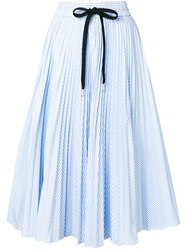 Red Valentino Striped Pleated Skirt Blue