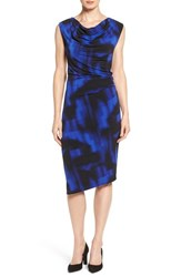 T Tahari Women's Genevieve Print Cowl Neck Asymmetrical Dress