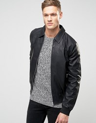 New Look Faux Leather Harrington Jacket In Black Black