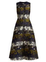 Roksanda Ilincic Serra Floral Jacquard Sleeveless Dress Blue Multi